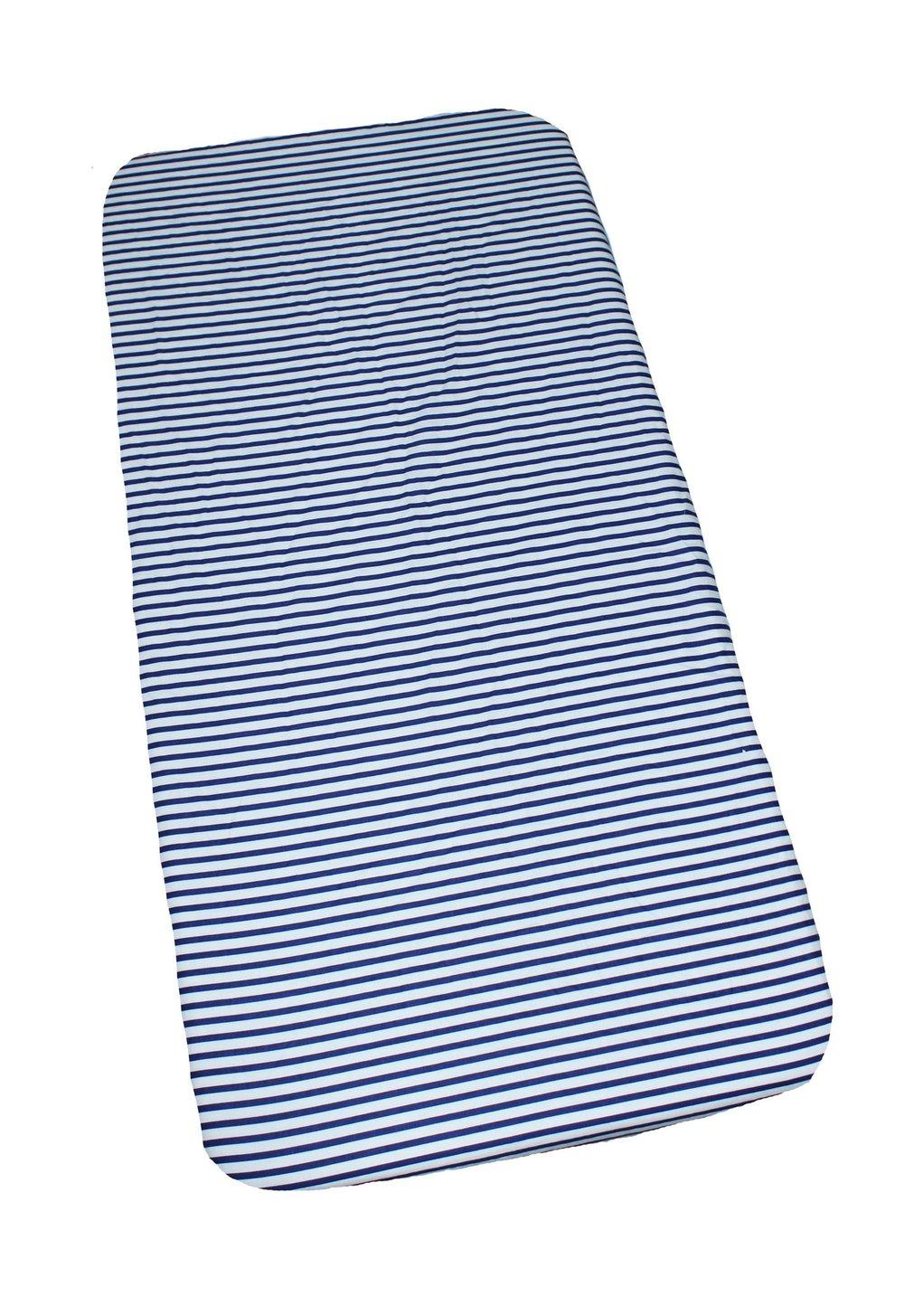 Cearceaf bumbac, alb cu dungi bluemarin, 120x60 cm imagine