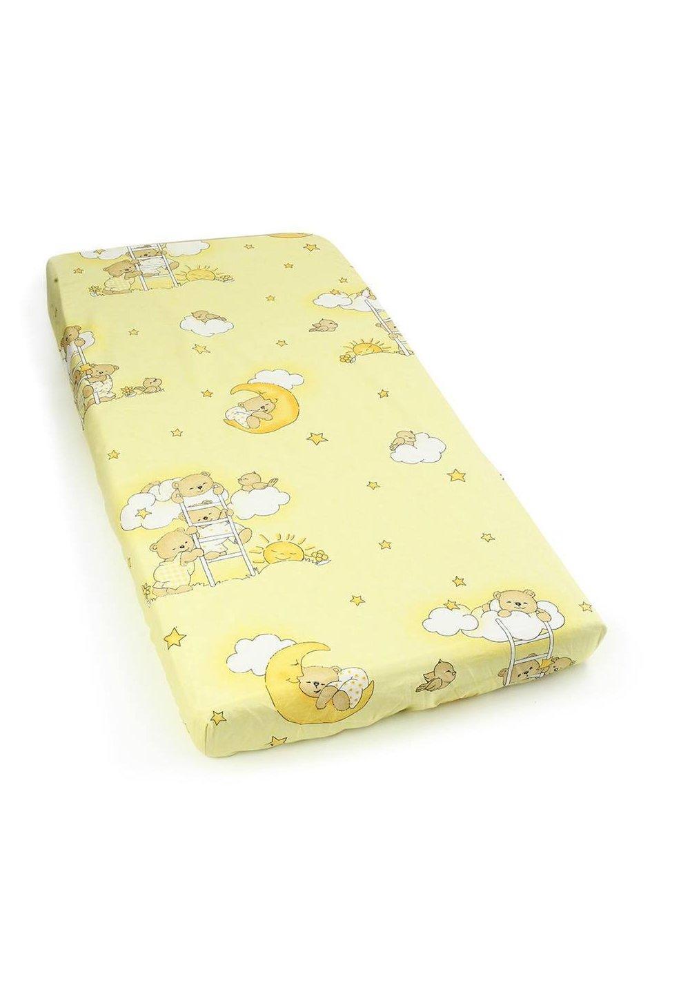 Cearceaf bumbac cu elastic, galben, ursuletul somnoros imagine