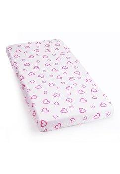 Cearceaf cu elastic 120x60cm inimioare roz