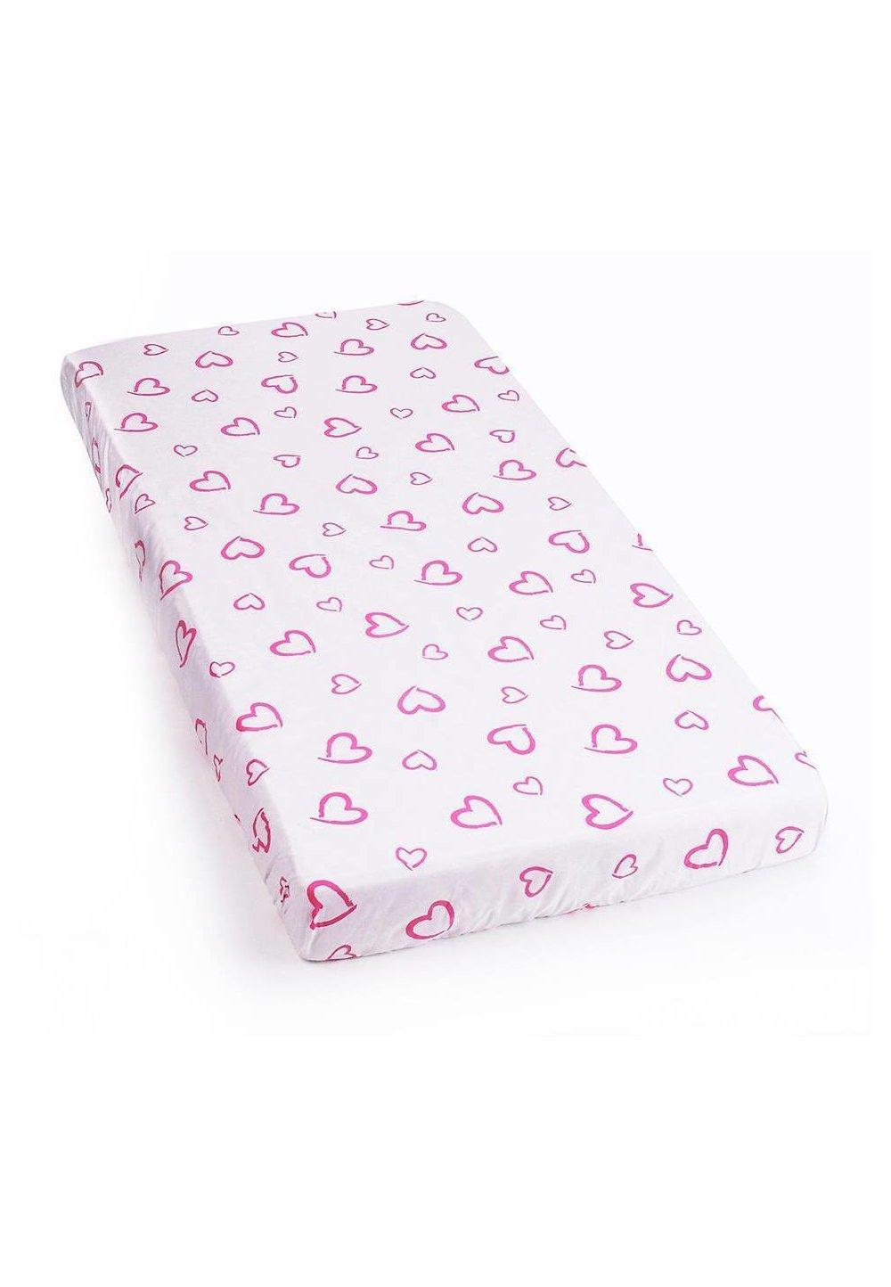 Cearceaf cu elastic 120x60cm inimioare roz imagine