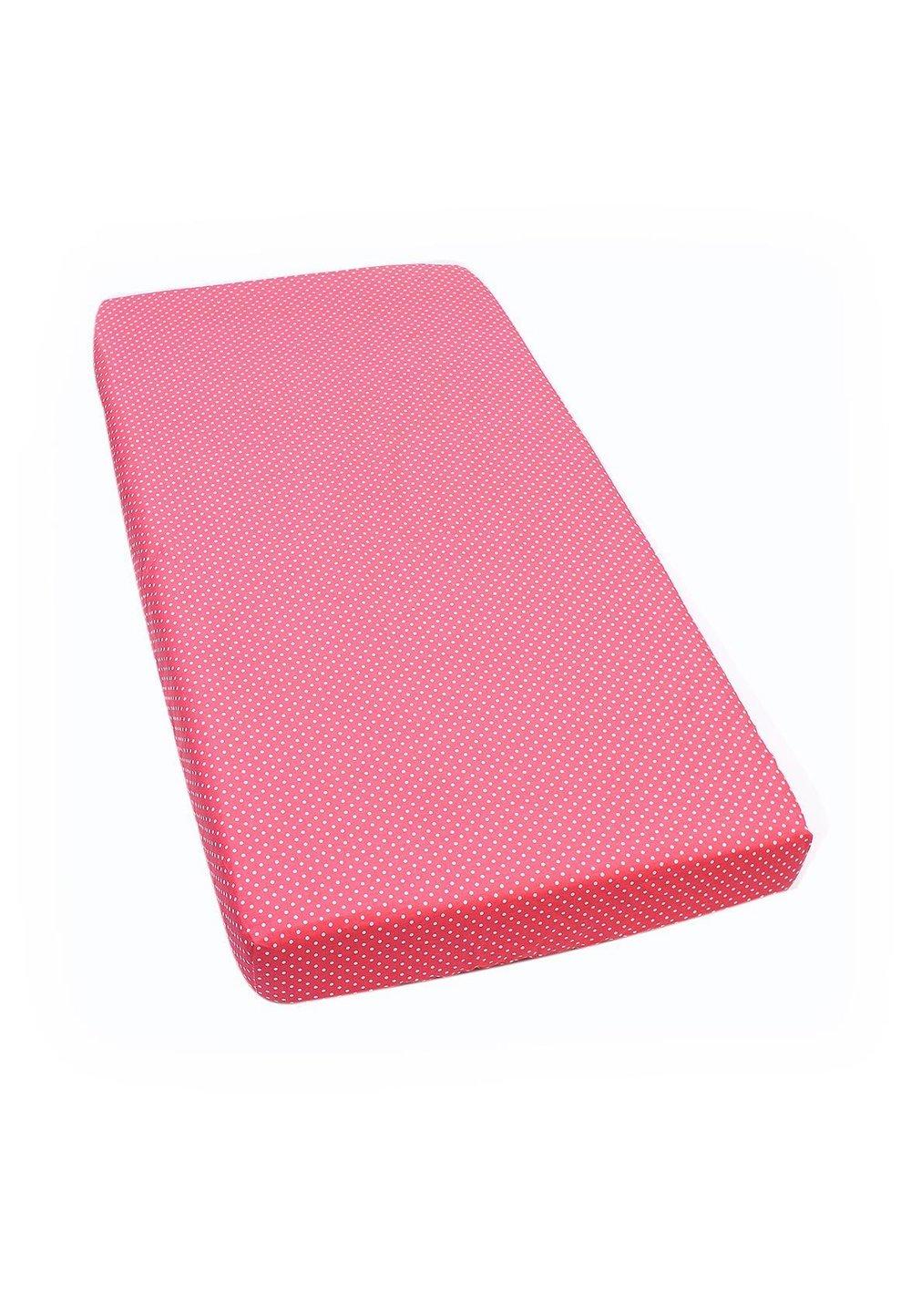 Cearceaf cu elastic, Pink with dots, 120 x 60 cm imagine