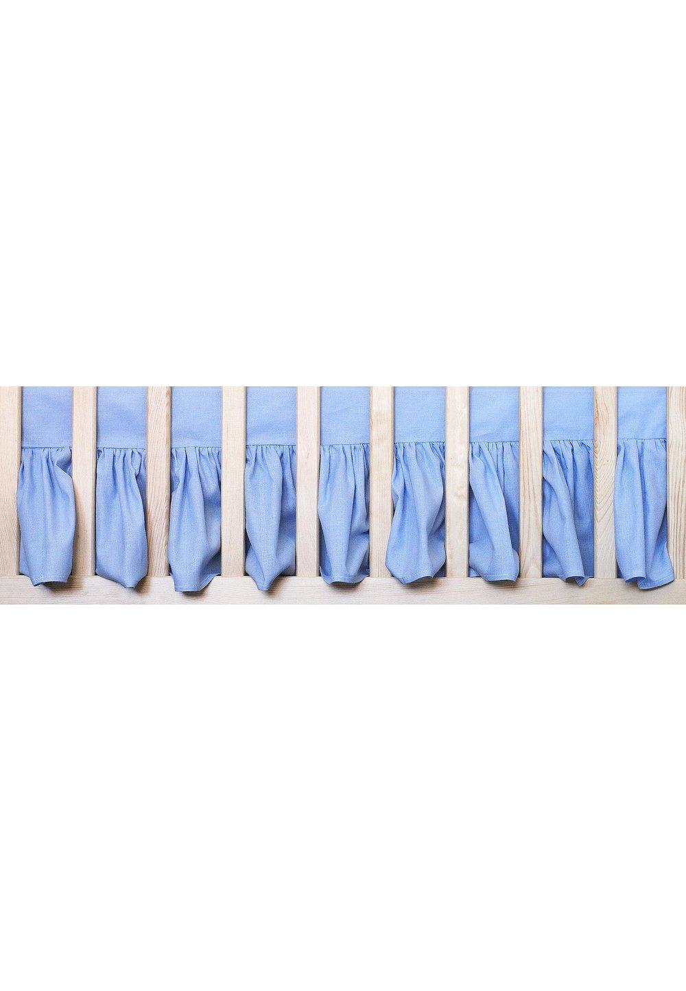 Cearceaf patut cu volanas, albastru, 120x60 cm imagine