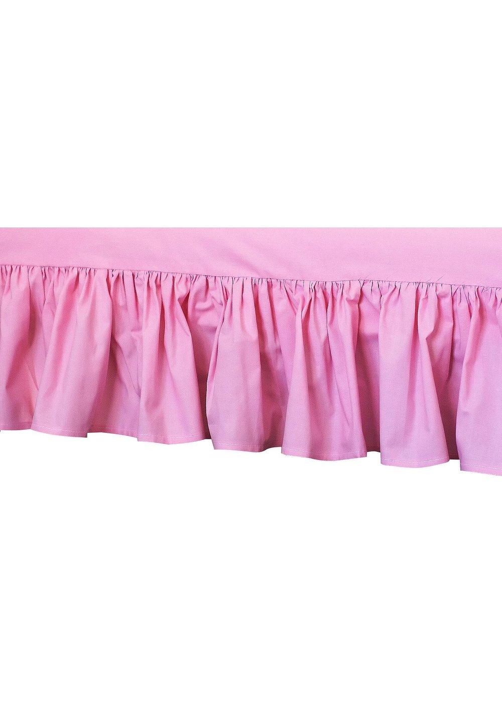 Cearceaf patut cu volanas, roz, 120x60 cm imagine