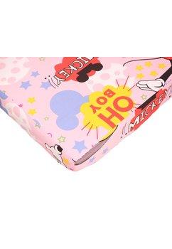 Cearceaf patut, roz, Minnie si Mickey, 120x60cm