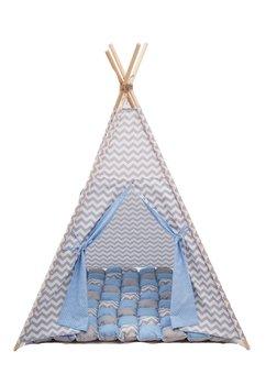Cort teepee, albastru cu gri, saltea de joaca inclusa
