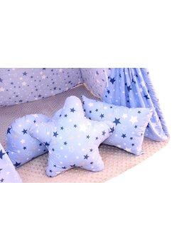 Cort Teepee,albastru cu stelute, cu perne incluse