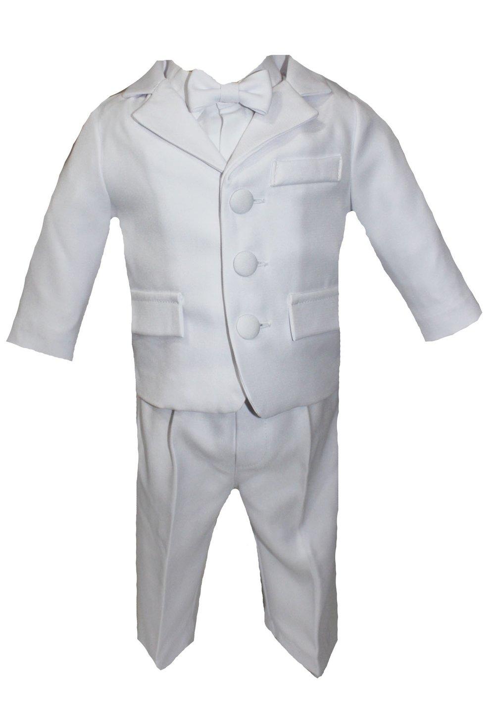 Costum botez, alb, cu papion imagine