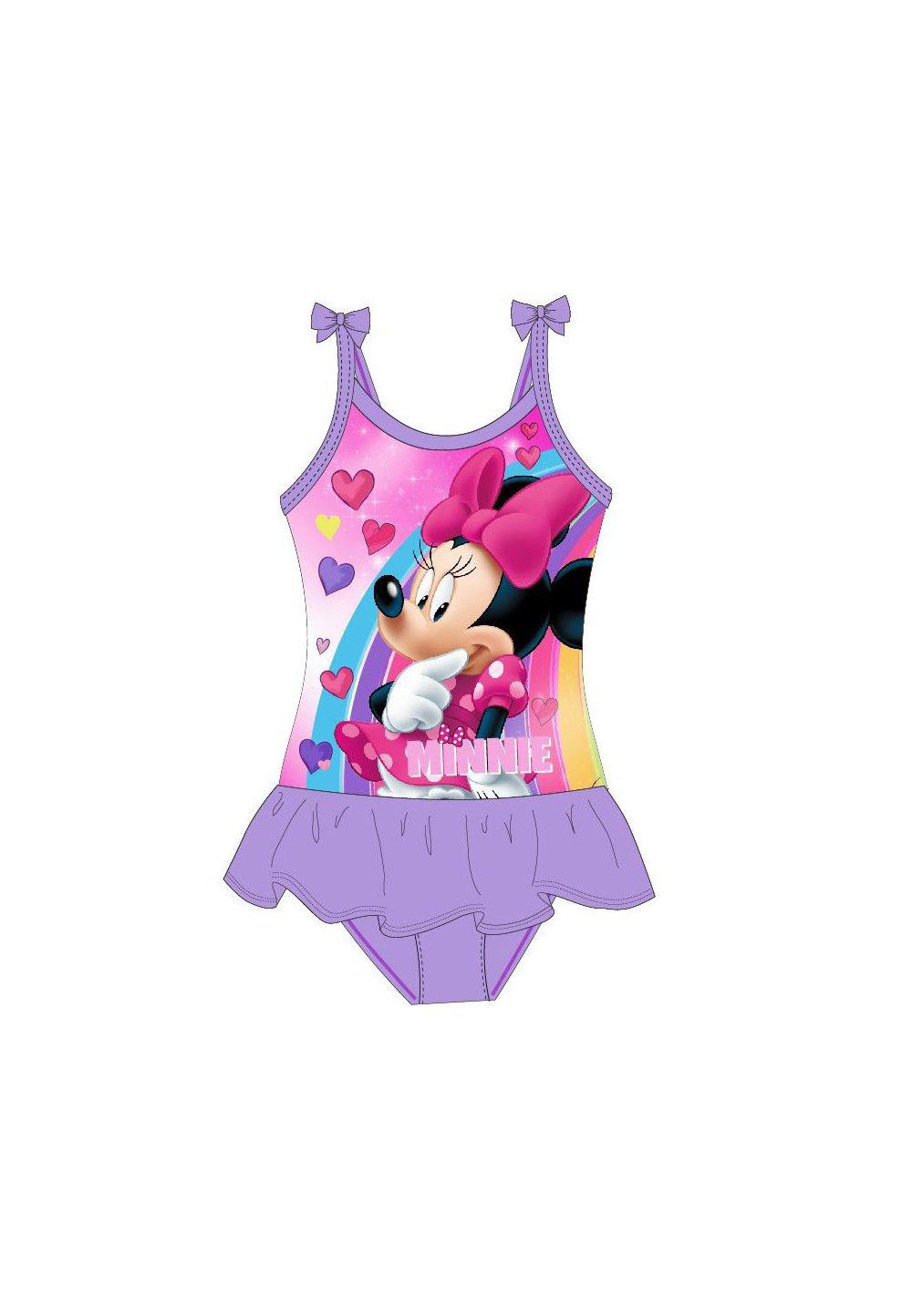 Costum de baie, intreg, Minnie, mov cu inimioare imagine