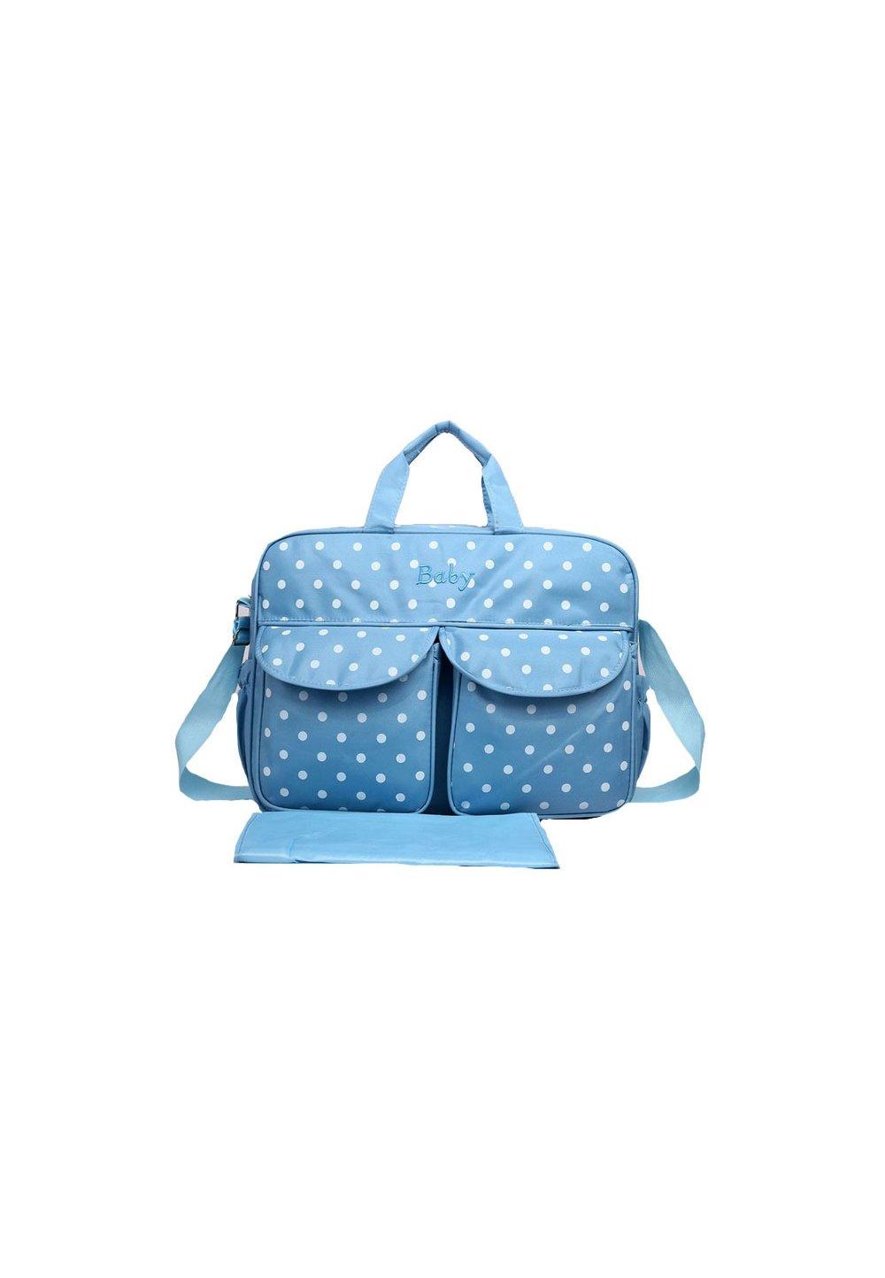 Geanta mamici, Baby, albastra cu buline imagine