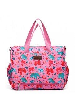Geanta mamici, cu elefantei, roz