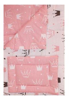 Lenjerie 3 piese, 2 fete, coronite Princess roz, 120 x 60 cm