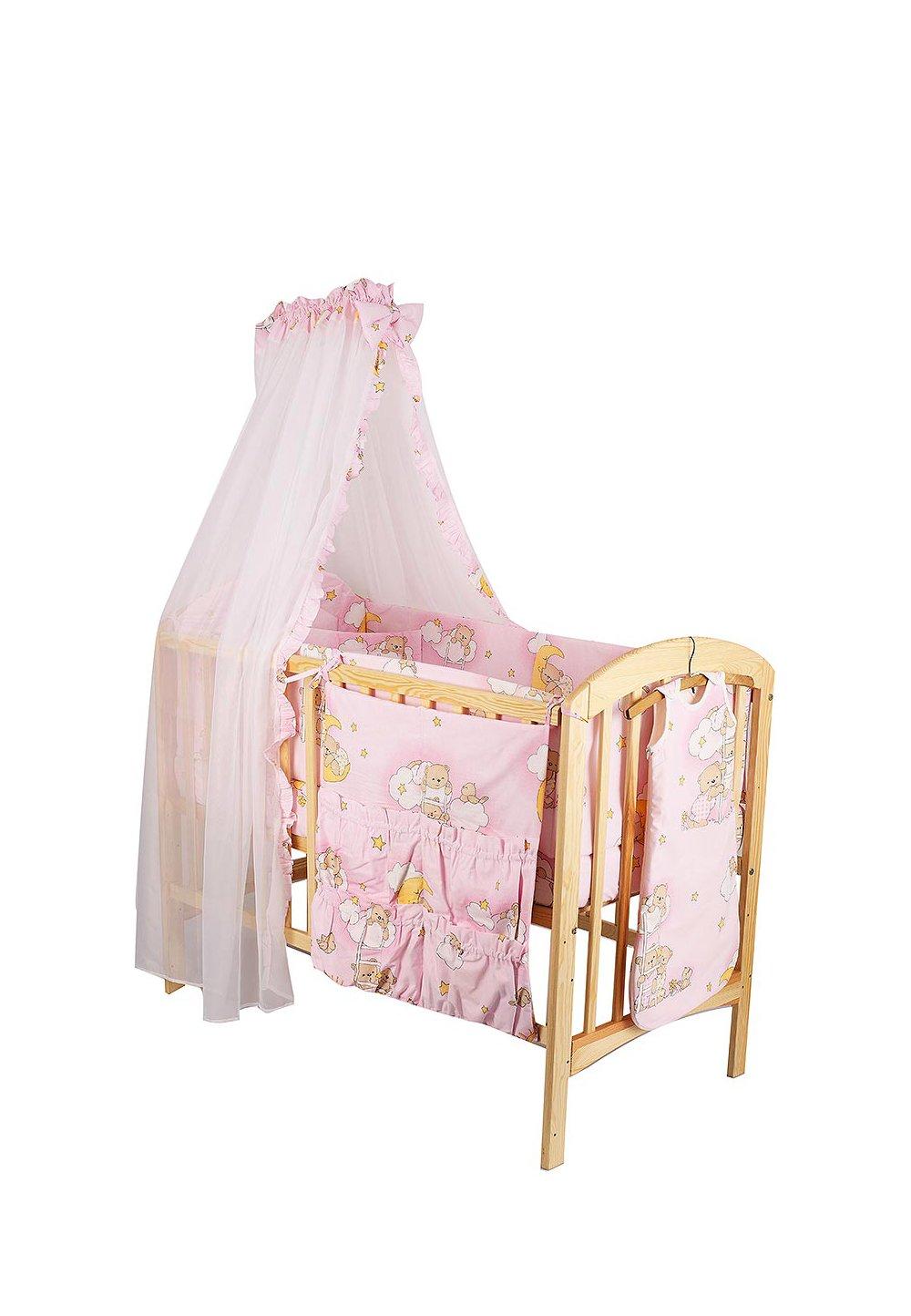 Lenjerie 8 piese, ursuletul somnoros, roz, 120x60 cm imagine