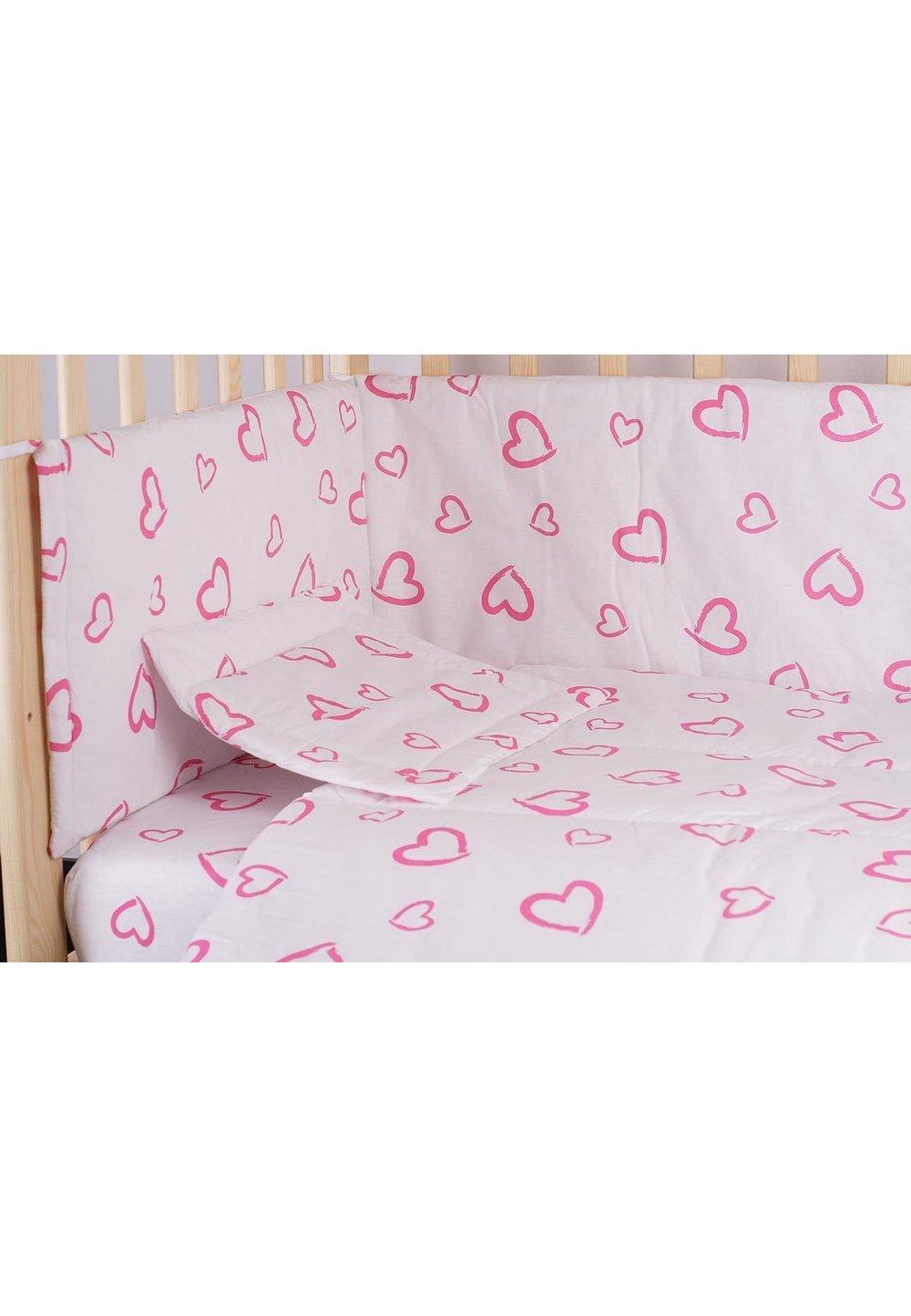 Lenjerie alba,inimioare,roz,5 piese, 140x70 cm imagine