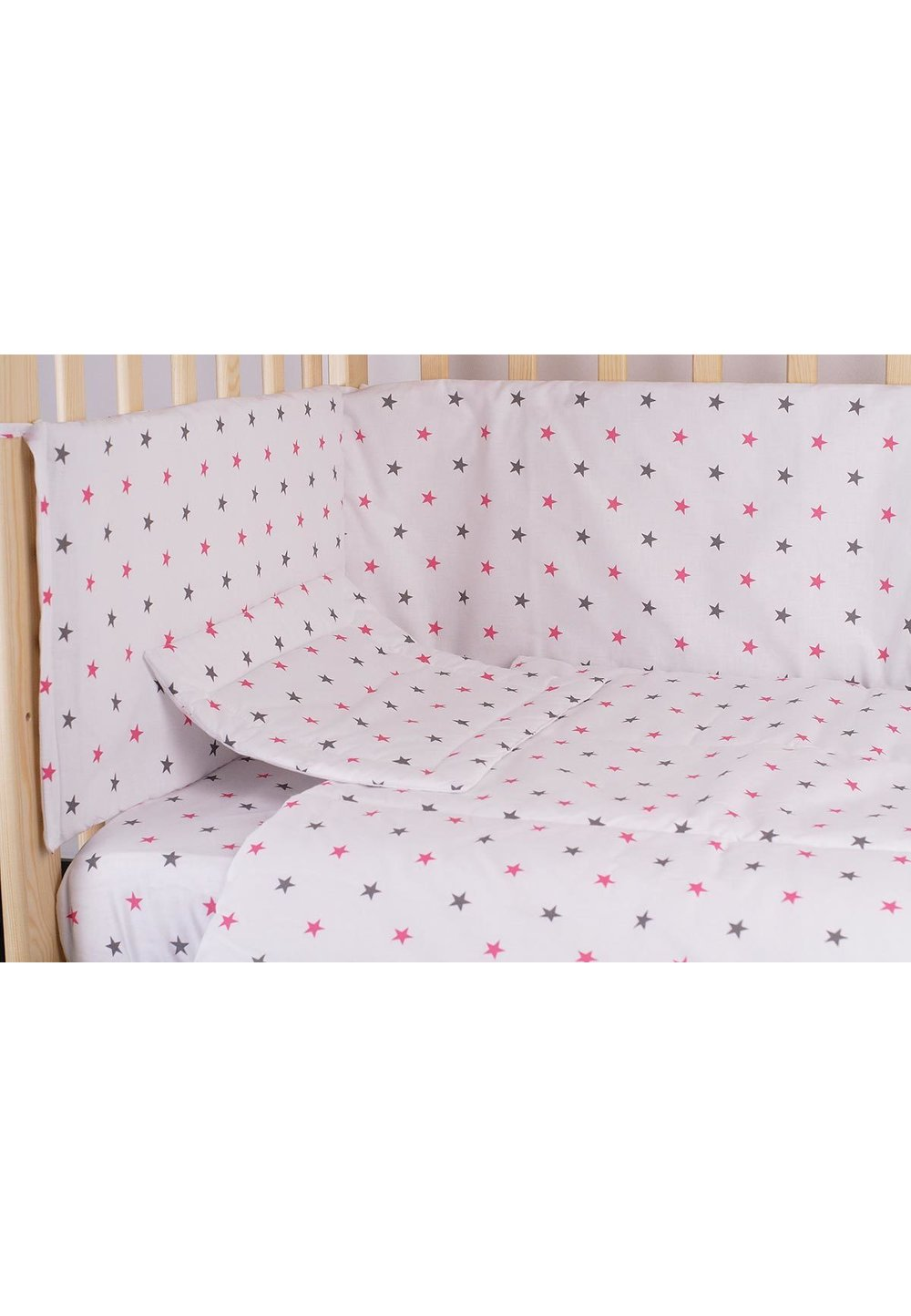 Lenjerie alba,stelute roz cu gri,3 piese, 120 x 60 imagine