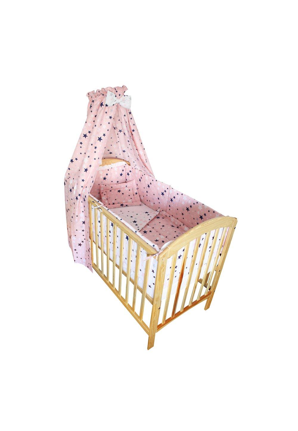 Lenjerie cu baldachin, 2 fete, stelutele roz 2, 120 x 60 cm imagine