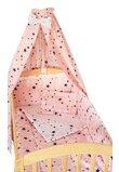Lenjerie cu baldachin, 2 fete, stelutele roz 2, 120 x 60 cm