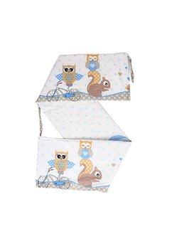 Lenjerie cu baldachin, 6 piese, bufnite mari, albastre, 120x60 cm