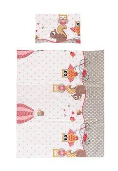 Lenjerie cu baldachin, 6 piese, bufnite mari, roz 120x60cm