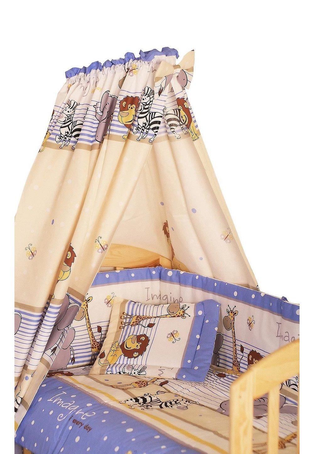Lenjerie cu baldachin, 6 piese, Safari albastru, 120x60cm imagine
