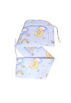 Lenjerie cu baldachin din voal, 6 piese, ursuletul somnoros,albastru 120x60 cm