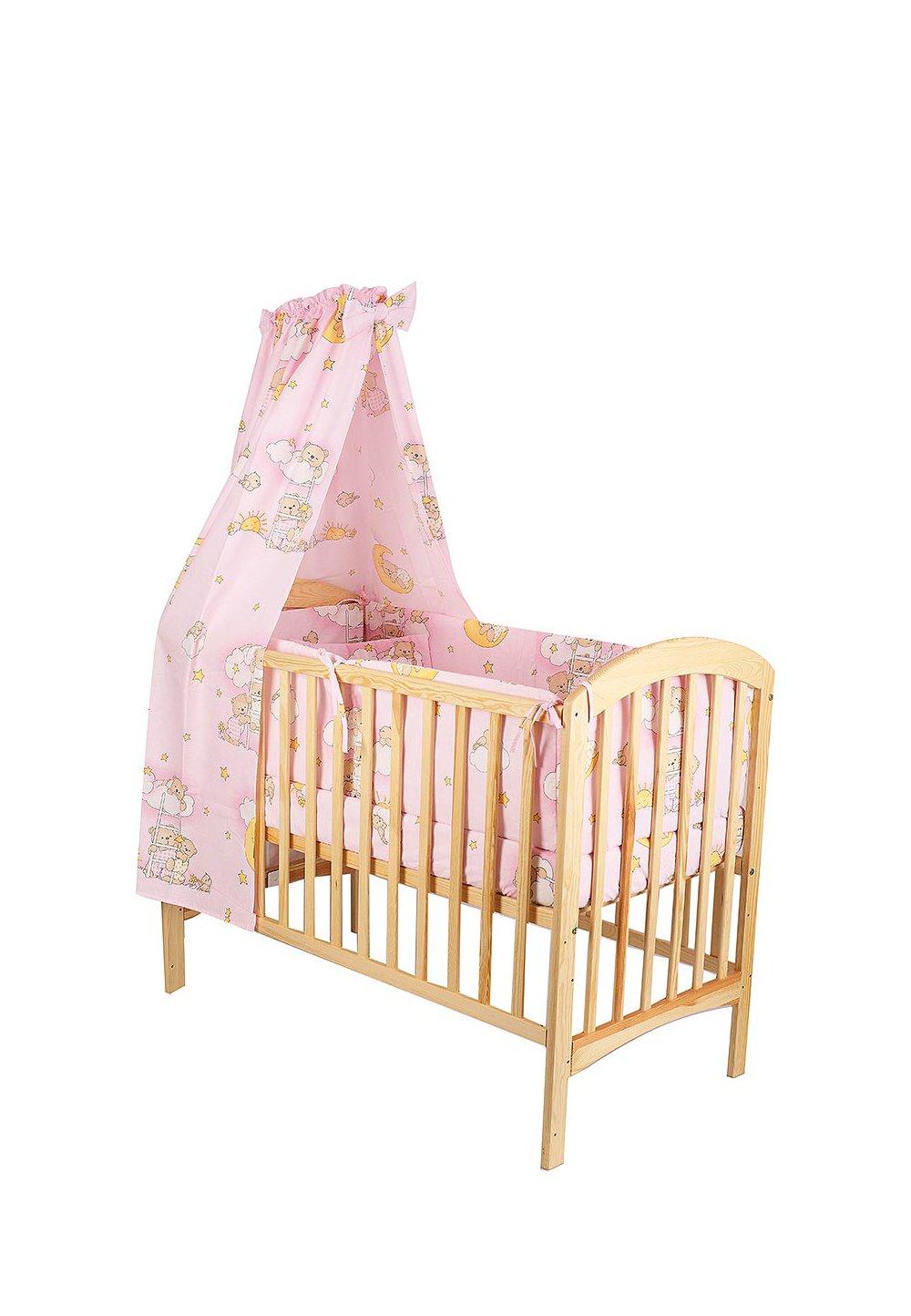 Lenjerie cu baldachin, 6 piese, ursuletul somnoros, roz 120x60 cm imagine