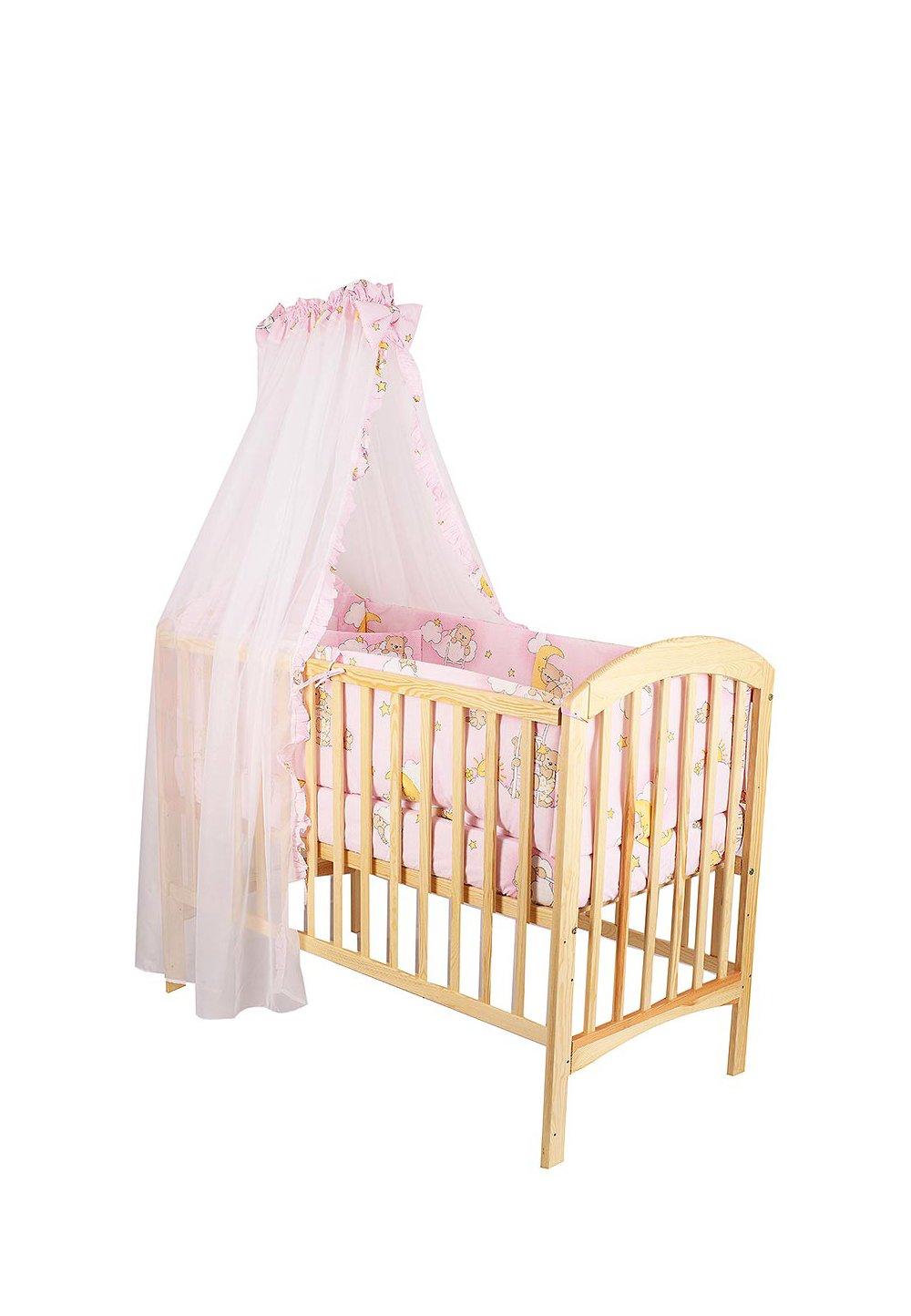 Lenjerie cu baldachin, 6 piese. ursuletul somnoros roz, 120x60cm imagine