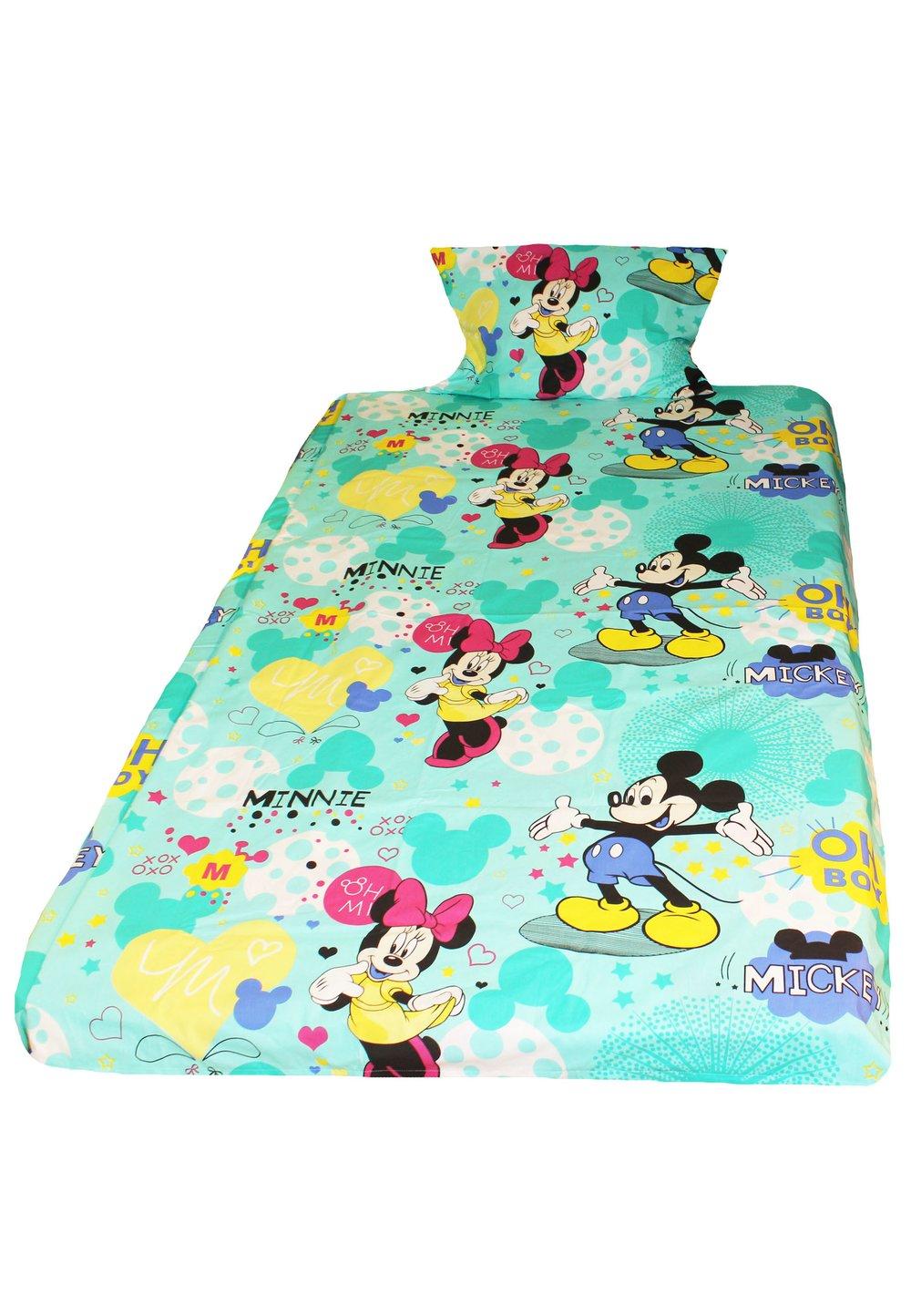 Lenjerie de pat 3 piese, Minnie si Mickey, turcoaz, 160 x 200 cm imagine