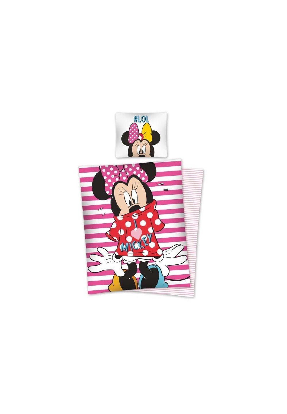 Lenjerie de pat cu dungi roz, Minnie Mouse, Lol, 140x200 cm imagine