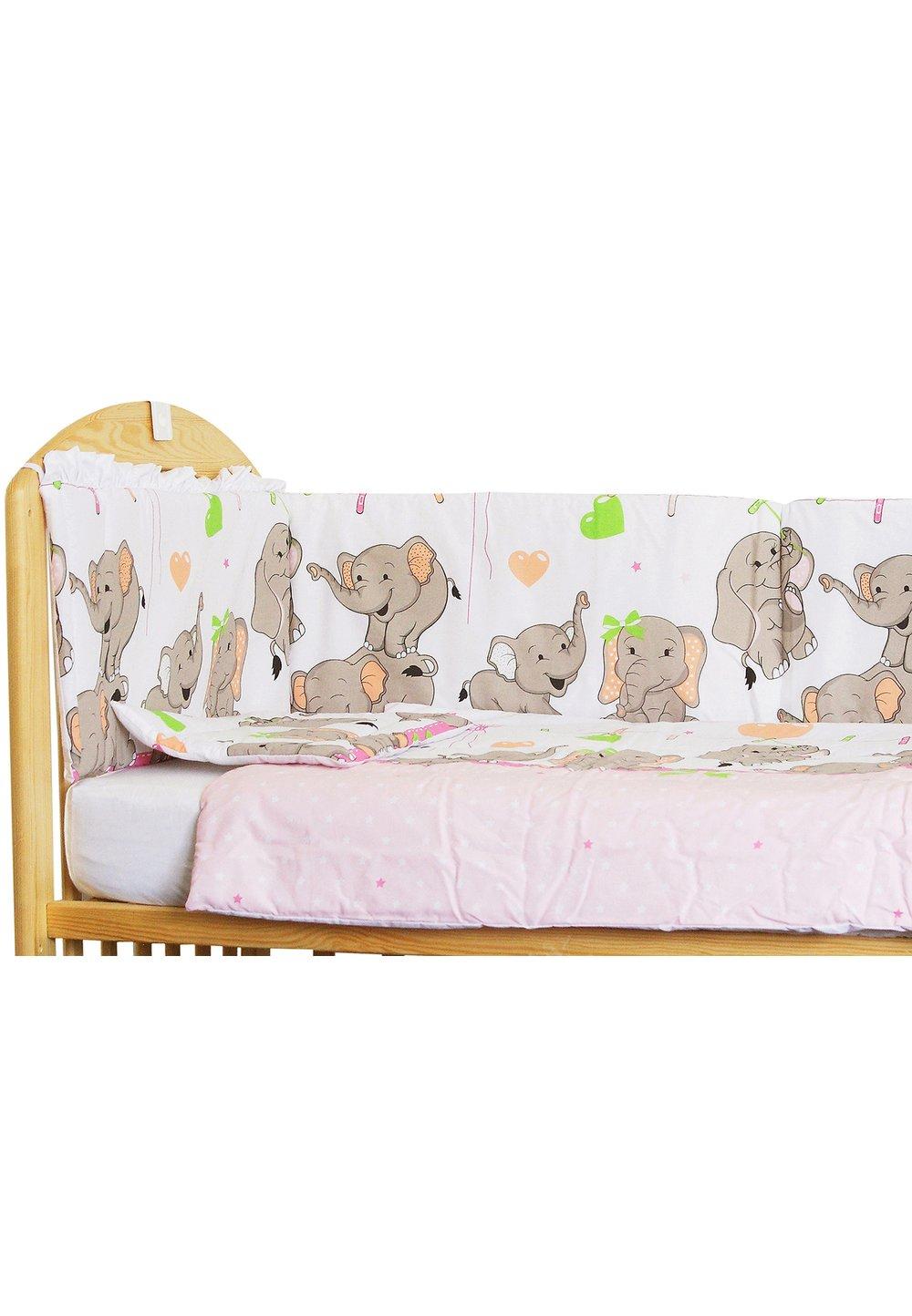 Lenjerie patut 3 piese, Elefant roz sir, 120 x 60 cm imagine