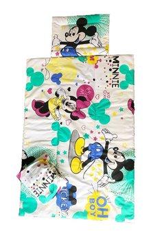 Lenjerie patut, 3 piese, Minnie si Mickey, crem, 120 x 60 cm