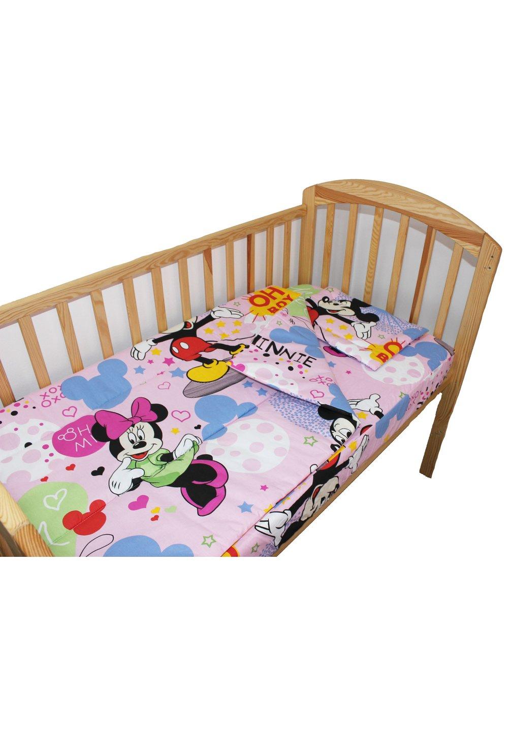 Lenjerie patut, 3 piese, Minnie si Mickey, roz, 120 x 60 cm imagine