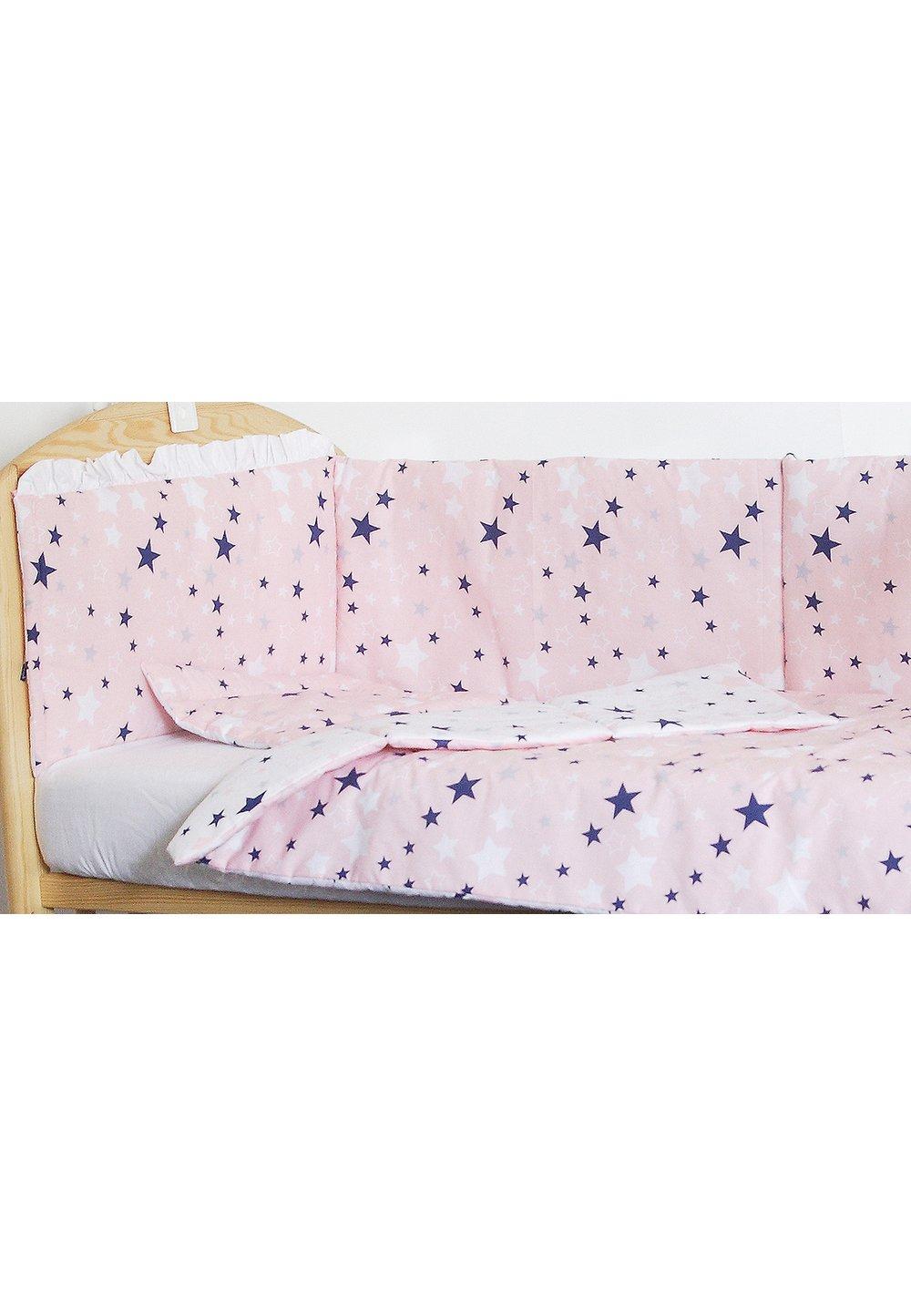 Lenjerie patut, 4 piese, 2 fete, stelutele roz, 120 x 60 cm imagine