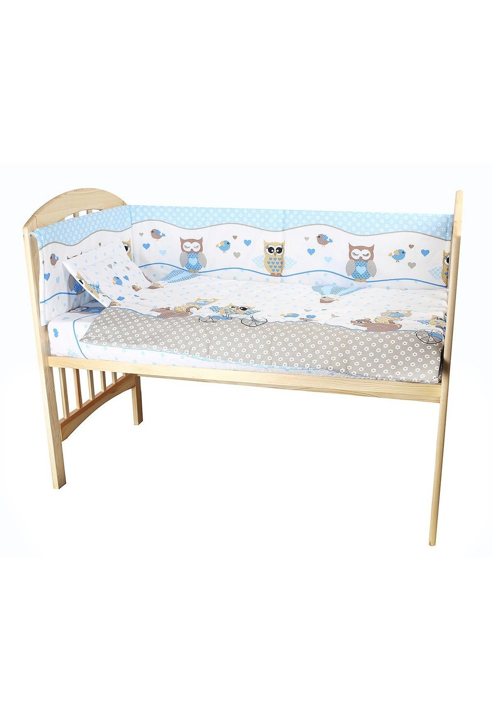 Lenjerie patut, 5 piese, Bufinite albastre, 120 x 60 cm imagine