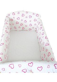 Lenjerie patut 7 piese, Maxi, inimioare roz, 120x60 cm