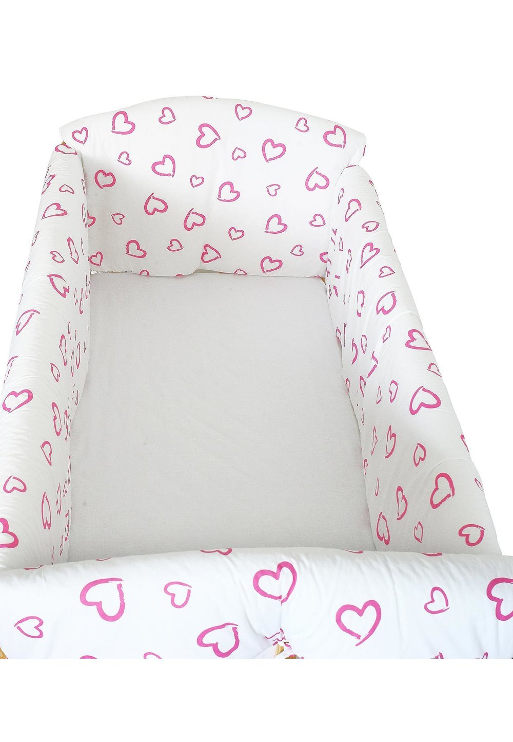 Lenjerie patut 7 piese, Maxi, inimioare roz, 120x60 cm imagine