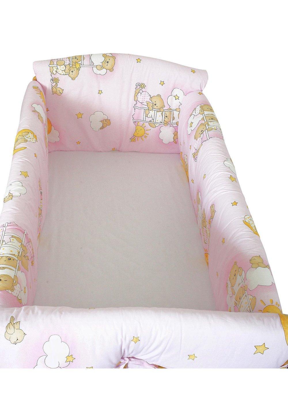 Lenjerie patut 7 piese, Maxi, ursuletul somnoros roz, 120x60 cm imagine