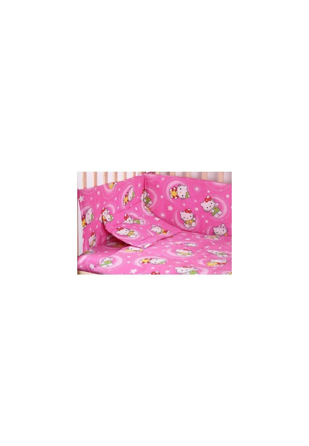 Lenjerie patut bumbac, Hello Kitty, roz, 5 piese 140x70cm imagine