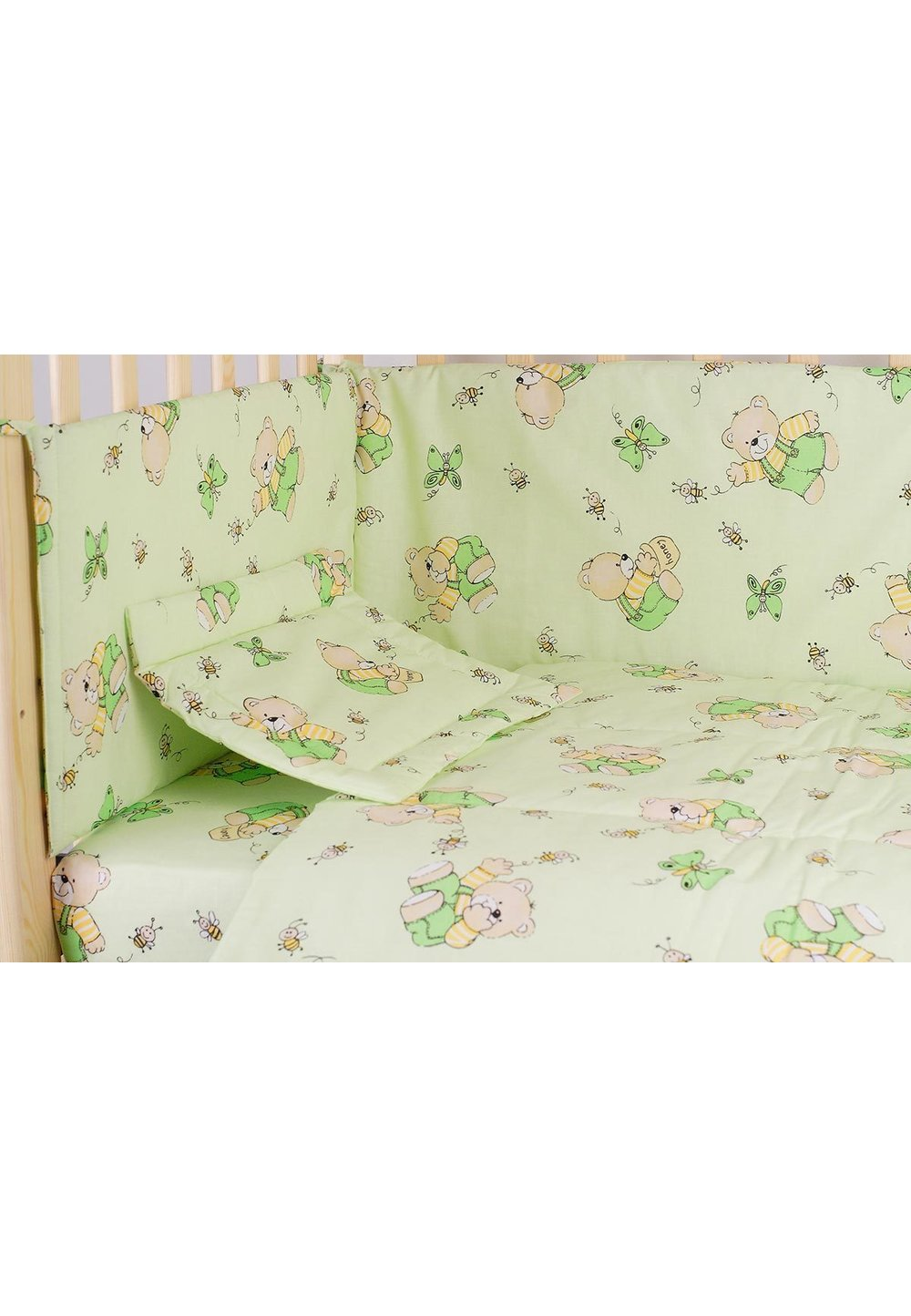 Lenjerie ursulet cu albinute verde,4 piese, 120 x 60 imagine