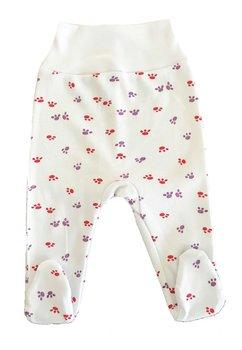 Pantalon cu botosi, alb cu labute roz