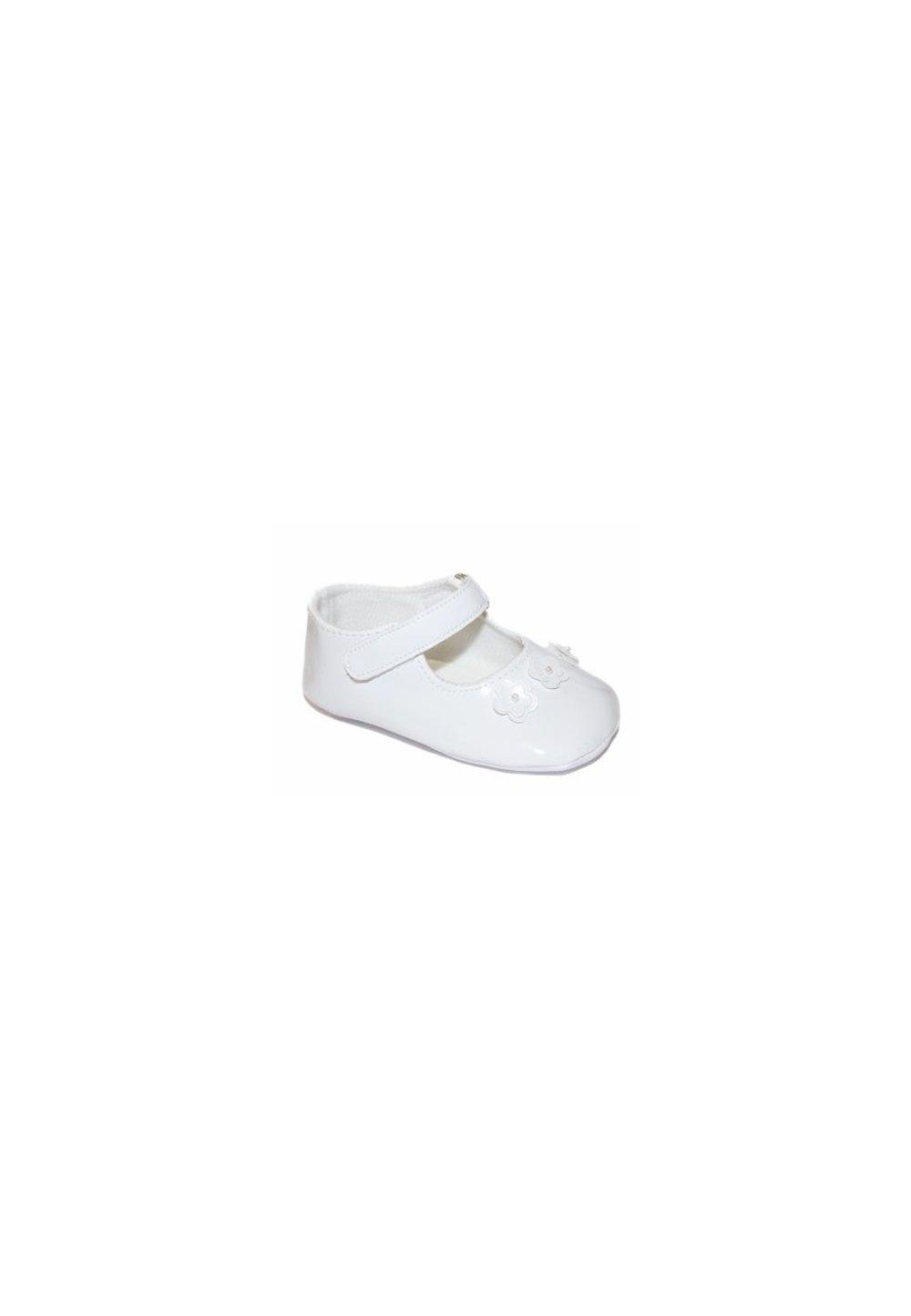 Papucei bebe, albi cu 3 floricele imagine