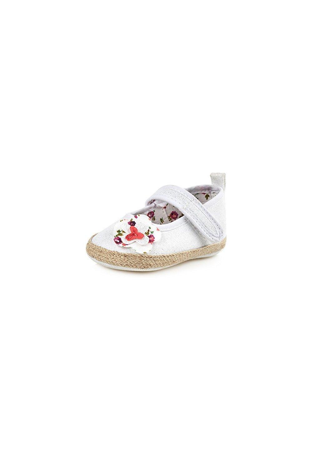 Papucei bebe, albi cu floricica si scai imagine