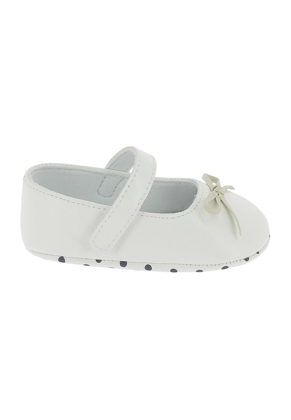 Papucei bebe, albi cu fundita imagine