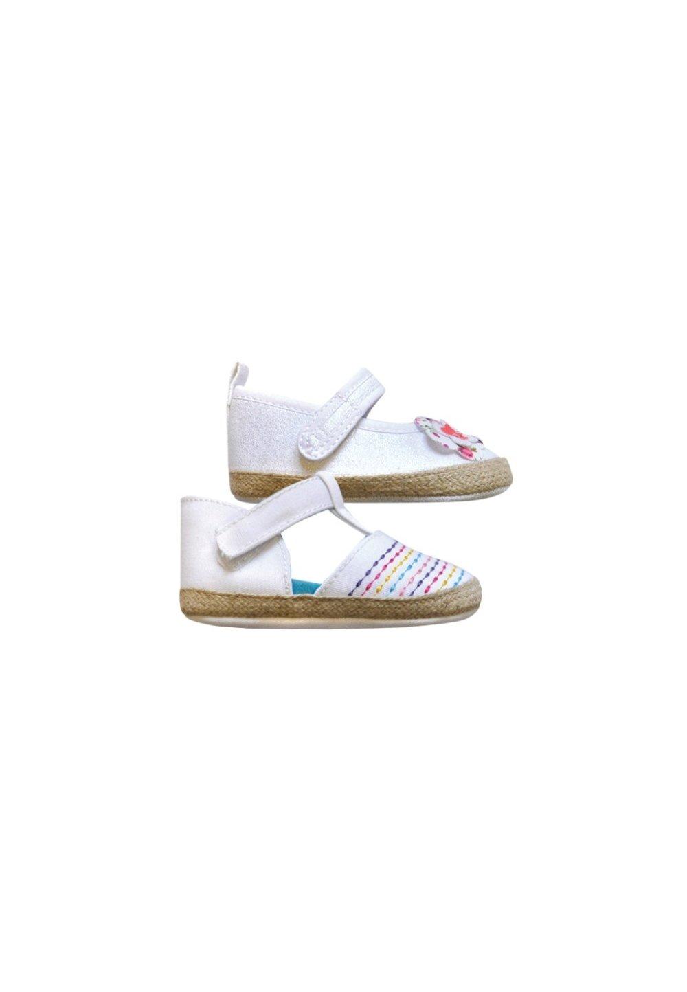 Papucei bebe, albi cu scai si linii colorate imagine