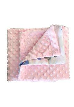 Paturica 2 fete, Minky, roz cu ursuleti, 80x100cm