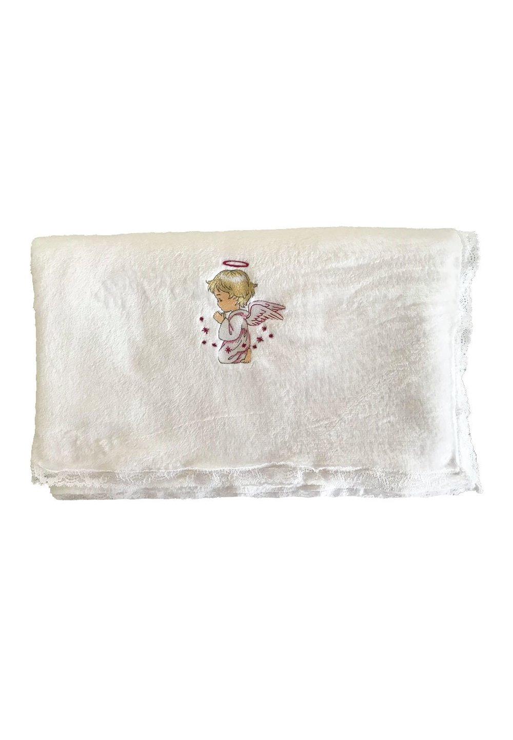 Paturica alba botez, ingeras roz imagine