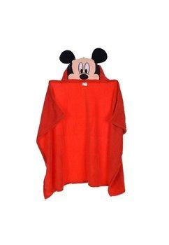 Paturica cu gluga, Mickey Mouse, rosie, 80x120cm