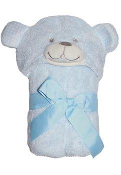 Paturica ursulet, cu gluga, albastru, 75x100cm