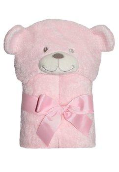 Paturica ursulet, cu gluga, roz, 75x100cm