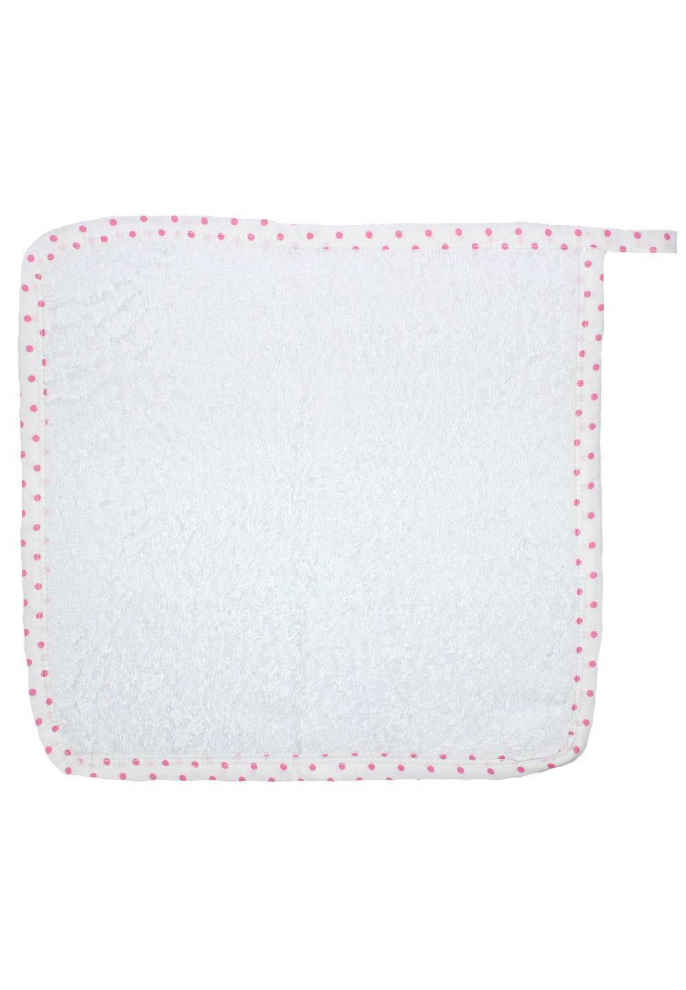 Prosop de maini alb cu buline roz, 30x30 cm imagine