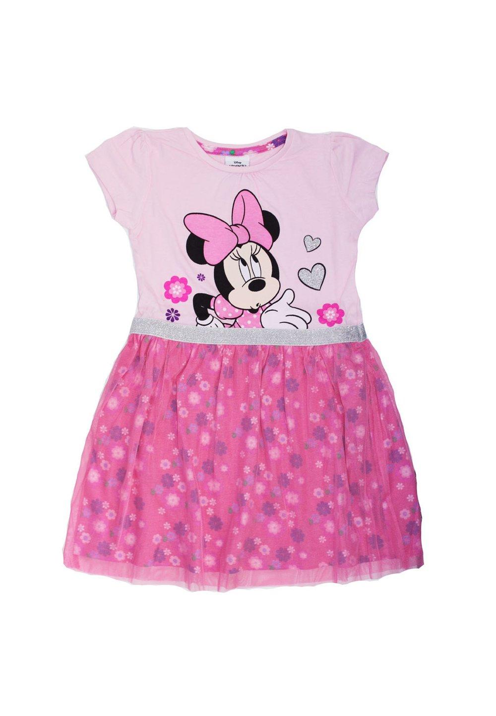 Rochie maneca scurta, roz cu floricele, Minnie imagine